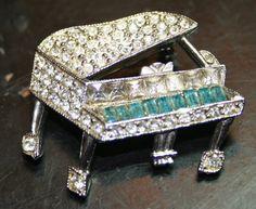 Vintage rhinestone piano brooch pin aqua blue sparkly by lbjool, $22.00