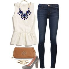 A fashion look from July 2014 featuring ivory peplum top, blue skinny jeans and suede platform pumps. Browse and shop related looks.