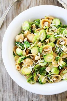 Brown Butter Brussels Sprouts Pasta with Hazelnuts Recipe on http://twopeasandtheirpod.com This pasta dish is amazing!