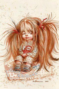 RARE Cute girl with long hair with bag by Chenina Russian modern postcard Art Fantaisiste, Weird Pictures, Cute Little Girls, Whimsical Art, Cute Drawings, Cute Art, Art For Kids, Fantasy Art, Illustration Art