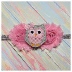 Baby Headband Pink and Gray Owl Owl Headband by WeAreCutieCouture, $10.50