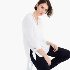 Crew for the Collared tie-sleeve popover shirt for Women. Find the best selection of Women Shirts & Tops available in-stores and online. Cashmere Sweaters, Blouses For Women, J Crew, Ruffle Blouse, My Style, Womens Fashion, Tie, Outfits, Clothes