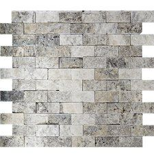 "Split Face 1"" x 2"" Stone Mosaic Tile in Silver"