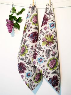2 Geschirrtücher Küchenhandtücher Tücher Blume  Päonien  Leinen (50x70) Geschenk