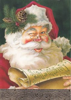 SANTA WITH PINE CONES ON HIS HAT, CHECKING HIS LIST TWICE....