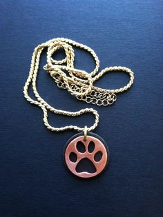 Now I wanna be your dog.  Copper and oxidized nickel pendant on gold fill chain.