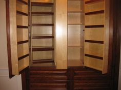 my old closet, now is a folding out pantry with drawers.  Love it