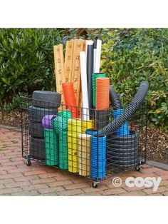 LOOSE PARTS STORAGE TROLLEY Outdoor Learning Spaces, Outdoor Activities For Kids, Kids Shed, Patio, Backyard, Storage Trolley, Storage Basket, Painted Tires, Preschool Garden