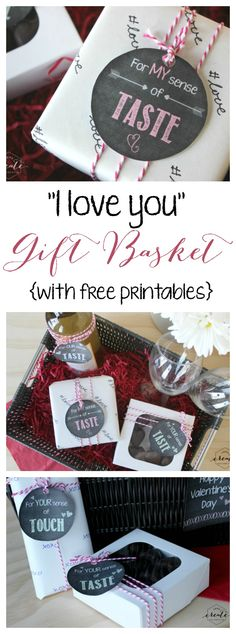 "The perfect gift basket to say ""I LOVE you"" for him or her :) Also great for a wedding shower! Free printables included for all your senses."