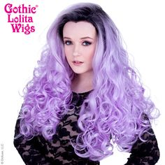 Lace Front Curly Dark Roots - Lavender & White Mix -00567