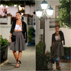 fashion mijas, fashion, fashion blogger, muotiblogi, fashionblog, kellohame, mid-length skirt, pleather jacket, crop top, high heels