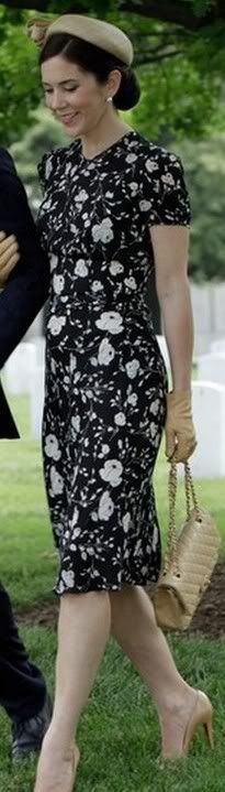 THEN (June 6, 2010): Ralph Lauren Black and white floral day dress worn on the visit to the United States.