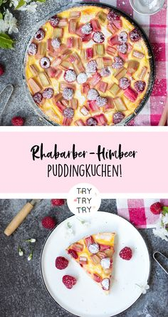 Puddingkuchen mit Rhabarber und Himbeeren Pudding cake with rhubarb and raspberries Pudding cake with rhabarbPudding cake with rhabarbEasy Vegan Rhabarb Cake Pudding Desserts, Pudding Cake, Fun Desserts, Best Dessert Recipes, Pie Recipes, Rhubarb Cake, But First Coffee, Sweet Cakes, Sweet And Salty