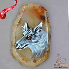 Unique Hand Painted wolf Pendant Natural Gemstone With Silver Bail  ZL807005 #ZL #Pendant