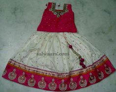 Indian Dresses: Embroidered Mirrors Lehenga for Kids