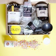 Ice cream can make bright days brighter and dark days a little less dark. What a fun ice cream party gift box to brighten someone's day. Confetti Poppers, Unique Gifts, Best Gifts, Ice Cream Party, Party In A Box, Happy Mail, Cheer Up, Party Gifts, Gift Baskets