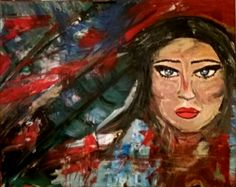 woman, beauty, painting, acrylics, red, colorful