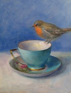 Oil Painting, teacup, robin, bird, still life by D. Lind