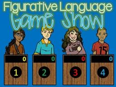 Figurative Language Jeopardy style game show for 4th-9th Grade! Want to have some fun practicing figurative speech? Here is a suggestion: a GAME SHOW!! Five fun categories that will get your students actively engaged. I've added some differentiation to this game show!!