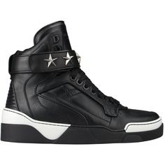 Givenchy High-top leather Tyson sneakers ($460) ❤ liked on Polyvore featuring men's fashion, men's shoes, men's sneakers and black