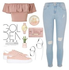 """GOLden"" by domeroman ❤ liked on Polyvore featuring Miss Selfridge, River Island, No Name, Nine West, Slant and Lauren Conrad"