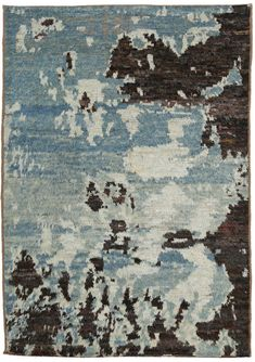 East Urban Home Contemporary Blue/Black Area Rug Rug Size: Square Pakistan, Moroccan Berber Rug, Standard Textile, Sheepskin Rug, Modern Carpet, Bar, Blue Brown, Rug Size, Area Rugs