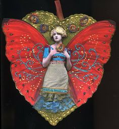Vintage photograph collage fairy lady ornament - love the color and pattern on these wings!