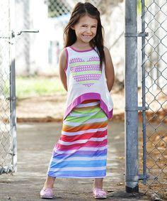 Look what I found on #zulily! Rainbow Stripe Layered Maxi Dress - Girls by Me & Ko #zulilyfinds