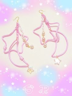 Moon and star earrings☆