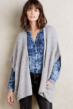 Ribbed Sweater Cape #anthropologie