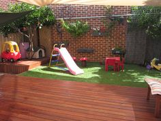 Small backyard deck and playground landscaping idea