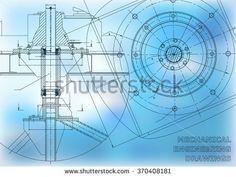 Mechanical engineering drawings. Vector background  #bubushonok #art #bubushonokart #design #vector #shutterstock  #technical #engineering #drawing #blueprint   #technology #mechanism #draw #industry #construction #cad