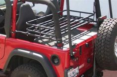 wide x 24 deep x 5 high . Made of steel tubing powder coated finish. Stow tools, spare parts , ice chest below the rack for improved passenger safety. Made in USA. Jeep Tj, Jeep Wrangler Tj, Jeep Sahara, Fly Gear, Jeep Parts, Rear Seat, Pickup Trucks, Offroad, Olympics