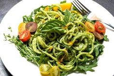 Raw Zucchini Pasta and Creamy Avocado-Cucumber Sauce- Dr. Oz, 1m avocado, 1m cucumber, peeled, 1 lemon, 2cloves garlic, pepper,salt,leaves of basil, fresh zucchini noodles