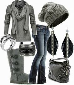 Grey Fall Outfit With Beanie And Handbag. It would be perfect with some other kinda boots besides uggs.