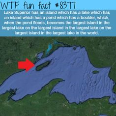 WTF Facts : funny, interesting & weird facts — Lake Superior has an island within an island - WTF. Wierd Facts, Wow Facts, Wtf Fun Facts, Funny Facts, Funny Memes, Random Facts, Random Trivia, Trivia Facts, Random Stuff
