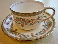 VINTAGE (1960 - 72) AYNSLEY HENLEY PATTERN COFFEE CUP AND SAUCER