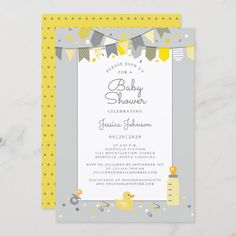 Cute Baby Shower Yellow Gray Modern Banner Flags Invitation