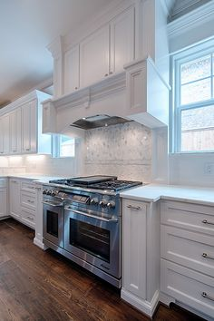 our kitchen! had so much fun designed this. Kitchen Cabinet Design, Kitchen Backsplash, Kitchen Cabinets, Custom Kitchens, Home Kitchens, Oven Hood, New Kitchen, Kitchen Ideas, Stove Hoods