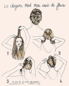 French twist with flowers/ Chignon Mad Men French Twist Hair, French Style, Down Hairstyles, Pretty Hairstyles, Summer Hairstyles, French Hairstyles, Twist Hairstyles, Medium Hairstyles, Diy Home