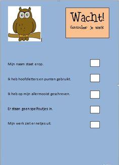 Checkformulier voor gemaakt werk. School Info, School Tool, School Hacks, School Teacher, Primary School, Visible Learning, Fun Learning, How To Become Smarter, Smart School
