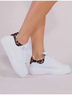 Bolt Platform Trainers in White and Leopard 486517b98