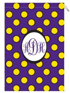 Purple and Gold Polka Dot Personalized Monogrammed Laundry Bag