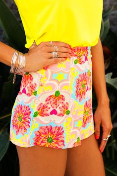 Bright  Summery. Printed High Wasted Shorts  Yellow Flowy Top.