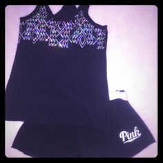 PINK black sequin racer back tank Good condition, only wore a few times. PINK black racer back sequin tank. Awesome for the summer and at the beach. Size:small shorts also for sale!! Ask about a bundle!! PINK Victoria's Secret Tops Tank Tops
