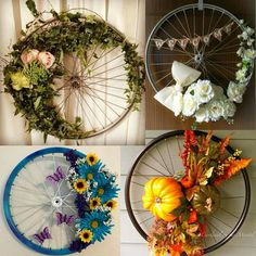How To Choose The Proper Bicycle Bicycle Crafts, Bicycle Decor, Diy Home Crafts, Diy Arts And Crafts, Wreath Crafts, Diy Wreath, Handmade Home, How To Make Wreaths, Porch Decorating