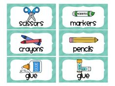 Chevron School Supply Labels for Everything! (Teal)