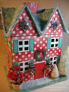 Annette's Creative Journey: Christmas house using TH/Ranger/Sizzix products and a Hobby Lobby paper mache house; Oct 2013