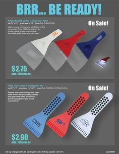 Clear the way for more sales! Be ready for the cold winter with these ice scrapers! Great promotional products to give your clients or organization brandd with your logo.