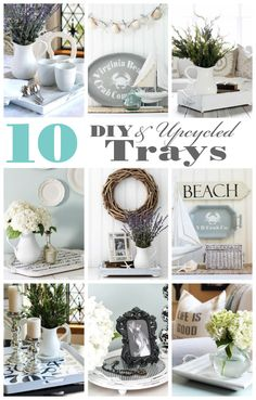Today I am sharing 10 awesome trays I either made or upcycled! But first, I hope you enjoyed the Easter holiday, and I have some super Mobile Home Decorating, Diy Home Decor, Upcycled Home Decor, Thrifty Decor, Decorating Ideas, Room Decor, Decor Ideas, Shabby, Thrift Store Crafts